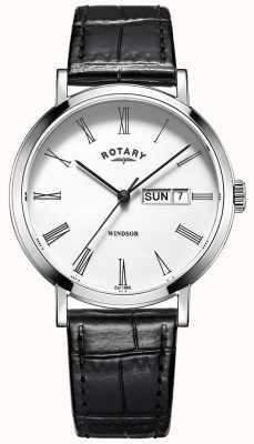 Rotary Mens ultra slim relógio pulseira de couro preto GS05300/01
