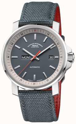 Muhle Glashutte O relógio cinza de aço inoxidável 29er tag datum M1-25-34-NB