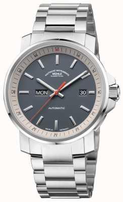 Muhle Glashutte A 29er tag datum pulseira de aço inoxidável relógio com mostrador cinza M1-25-34-MB
