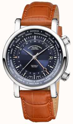 Muhle Glashutte Teutonia ii weltzelt gmt pulseira de couro marrom azul M1-33-82-LB
