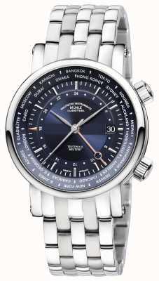 Muhle Glashutte Teutonia ii weltzelt gmt pulseira de aço inoxidável mostrador azul M1-33-82-MB