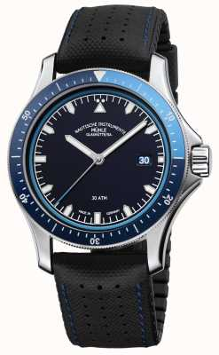 Muhle Glashutte Promare vai mostrador azul de couro preto / pulseira de borracha M1-42-32-NB