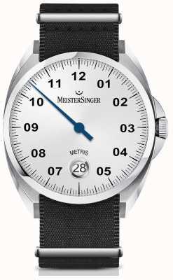 MeisterSinger Metris automático opaline silver dial cinta preta de nylon ME901