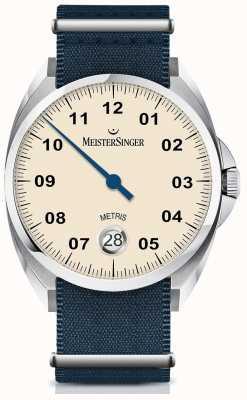 MeisterSinger Bracelete de náilon de nylon automático com mostrador de marfim ME903