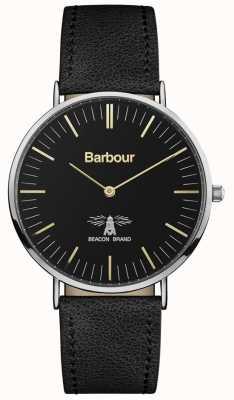 Barbour Mens hartley pulseira de couro preto mostrador preto BB055BKBK