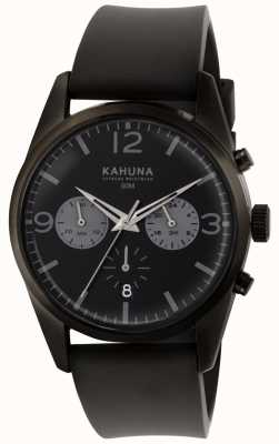 Kahuna Mens preto cronógrafo dial pulseira de borracha preta KCS-0010G