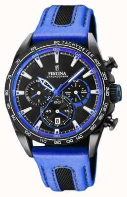 Festina Mens esporte cronógrafo pulseira de couro azul mostrador preto F20351/2