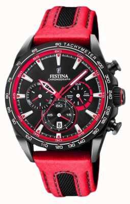Festina Mens esporte cronógrafo pulseira de couro vermelho mostrador preto F20351/6