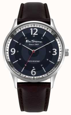 Ben Sherman Relógio de roteiro de pulseira de couro marrom mens Marinha BS001UBR