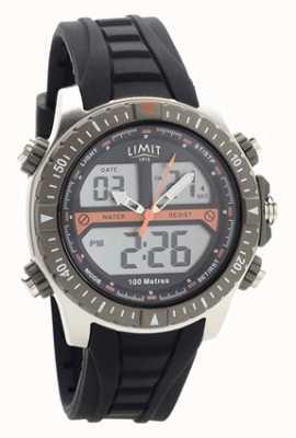 Limit Mens pulseira de borracha preta relógio analógico / digital 5694.71