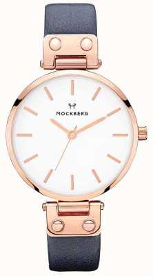 Mockberg Relógio de couro azul marinho sophie para mulher MO119