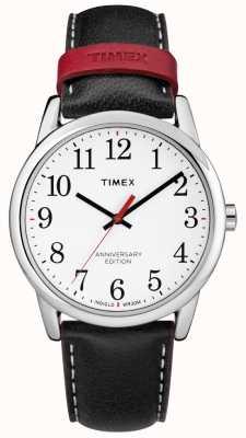 Timex Mens easy reader 40º aniversário pulseira de couro preto vermelho TW2R40000