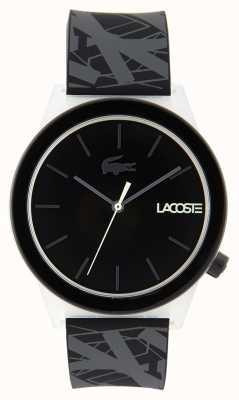Lacoste Relógio de movimento unissex pulseira de borracha preta e cinza 2010937