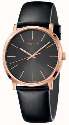 Calvin Klein Mens relógio de couro preto subiu caixa de ouro K8Q316C3