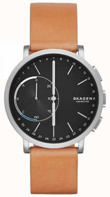 Skagen Hagen conectado relógio inteligente pulseira de couro marrom mostrador preto SKT1104