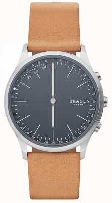 Skagen Jorn conectado relógio inteligente pulseira de couro marrom mostrador azul SKT1200