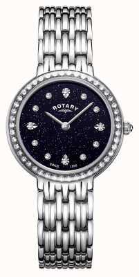 Rotary Kensington azul feminino sparkle dial aço inoxidável LB00400/67