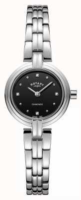 Rotary Diamantes negros pulseira de aço inoxidável LB00410/15
