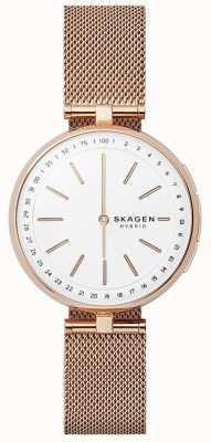 Skagen Signatur conectado relógio inteligente rosa ouro malha mostrador branco SKT1404