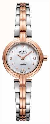 Rotary Diamantes das mulheres dois tons subiu de ouro de aço inoxidável LB00412/41