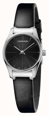 Calvin Klein Caixa de aço inoxidável preto clássico pulseira de couro preto de discagem K4D231CY