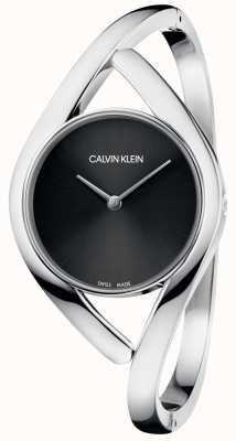 Calvin Klein Pulseira de aço inoxidável partido prata pulseira preta K8U2S111