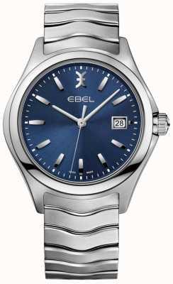 EBEL Mostrador de data de pulseira de aço inoxidável de mostrador azul onda masculino 1216238