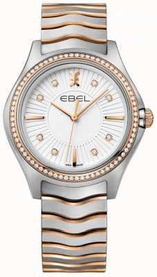 EBEL Diamante das mulheres conjunto onda mostrador branco pulseira de dois tons 1216319