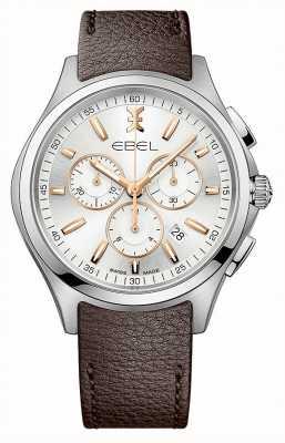 EBEL Data de cronógrafo de onda masculino exibir pulseira de couro marrom 1216341