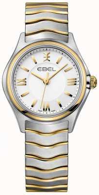EBEL Onda branca das mulheres discagem dois tons de ouro e pulseira de prata 1216375