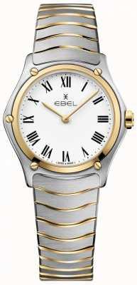 EBEL Esporte das mulheres clássico mostrador branco dois tons pulseira inoxidável 1216387