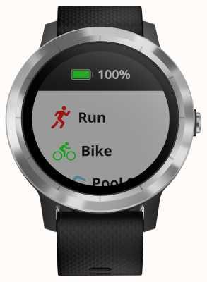 Garmin Vivoactive 3 horas multisport tracker preto borracha moldura de prata 010-01769-00