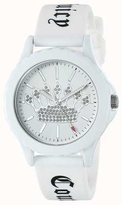 Juicy Couture Relógio de pulseira de silicone branco das mulheres discagem coroa branca JC-1001WTWT