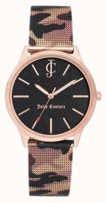 Juicy Couture Mulheres marrom camuflagem impressão pulseira de couro mostrador preto JC-1014RGCA