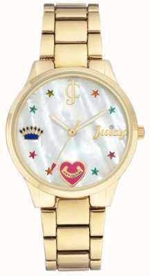 Juicy Couture (sem caixa) relógio de pulseira de aço tom de ouro para mulher JC-1016MPGB