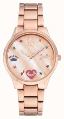 Juicy Couture Womens rosa pulseira de ouro tom relógio com marcadores coloridos JC-1016RMRG