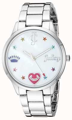 Juicy Couture Relógio de pulseira de aço prateado para mulher com marcadores coloridos JC-1017MPSV