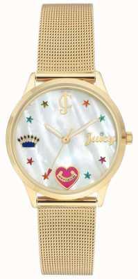 Juicy Couture Relógio de pulseira de malha de ouro de mulheres com marcadores coloridos JC-102WTGB