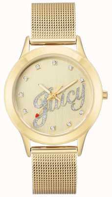 Juicy Couture Relógio de script suculento pulseira de malha de ouro das mulheres JC-1032CHGB