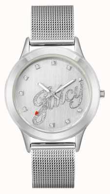 Juicy Couture Relógio de roteiro suculento pulseira de malha de prata das mulheres Womens JC-1033SVSV
