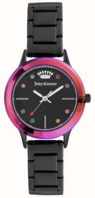 Juicy Couture Mostrador preto pequeno pulseira preta de mulher com moldura colorida JC-1051MTBK