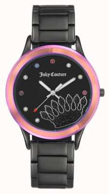 Juicy Couture Mostrador preto de pulseira preta para mulher com moldura colorida JC-1053MTBK