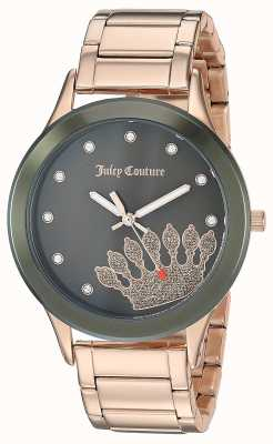 Juicy Couture Womens subiu de aço inoxidável de ouro | mostrador preto da coroa JC-1052OLRG