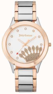 Juicy Couture O mostrador da coroa do tom do ouro das mulheres levantou-se e o bracelete de dois tons JC-1053WTRT