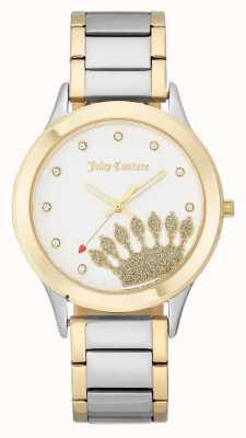 Juicy Couture Dial de coroa de tom de ouro das mulheres e pulseira de dois tons JC-1053WTTT