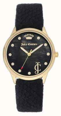 Juicy Couture Mostrador preto para mulher | pulseira de veludo preto | caixa de tom de ouro JC-1060BKBK
