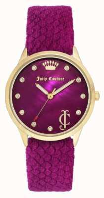 Juicy Couture Mostrador Borgonha para mulher | pulseira de veludo Borgonha | caso tom de ouro JC-1060HPHP