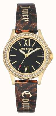 Juicy Couture Caso tom de ouro das mulheres | pulseira marrom | caso preto JC-1068BKBN