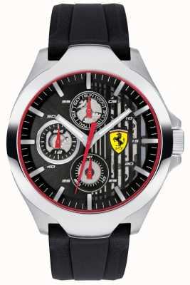 Scuderia Ferrari Mens preto cronógrafo dial pulseira de borracha preta 0830510