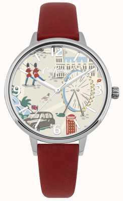 Cath Kidston Bracelete de couro vermelho das mulheres mapa de londres impresso relógio de discagem CKL053R
